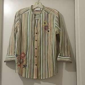 ALFRED DUNNER  blouse stripes size 12